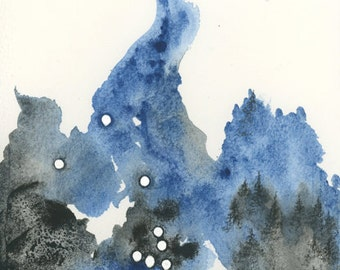 """Original Watercolor and Charcoal Painting, Forest and Stars - """"Taurus"""" - by Emily Magone"""