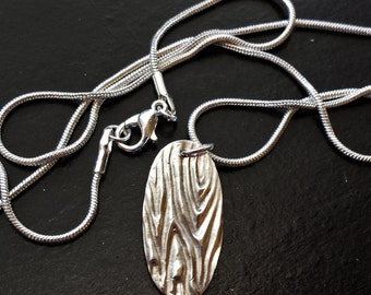 Woodgrain Fingerprint Pure Silver Charm -- Handcrafted, Embossed/Textured Pendant Necklace