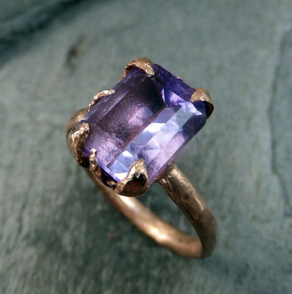 Amethyst Rose Gold Ring Purple Gemstone Recycled 14k rose Gold Gemstone Cocktail Statement ring byAngeline
