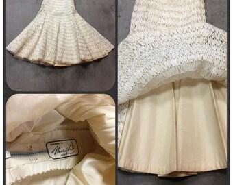 50's Michael Paul Natural Raffia, High Waisted Skirt. Hawaiian Skirt,Grass Skirt,Costume, Cream Full Skirt, RIRI Zipper