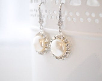 Halo Bridal Earrings, Wedding Earrings, Drop Pearl Earrings, Earrings for the Bride, Coin Pearl Earrings