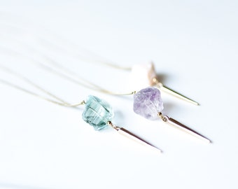 turquoise necklace raw gemstone jewellery mineral necklace raw stone jewellery semi precious stone necklace quartz amethyst purple