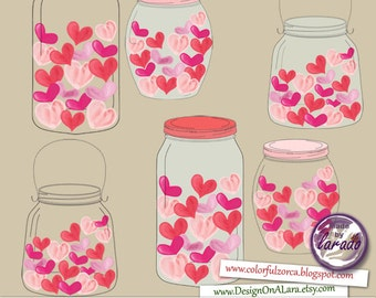 Jar of love, Jar of hearts, Love Jars clipart, Mason Jars Digital Clip Art for Scrapbooking Card Making Cupcake Toppers Paper Crafts