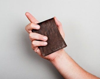 Mens leather wallet, bifold leather wallet, dark brown lizard embossed leather, Homme Leather Wallet for MAN. Gifts for him, gifts under 55