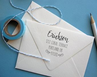 Address Stamp, custom address stamp square, self Inking black or rubber stamp wood handle