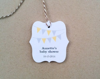 Custom baby shower gift tags - Bunting banner party favor tags - Shower thank you tags - Baby gift tags - Thank you favor tags - TG-08