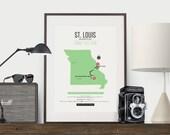 Zombie Safe Zone St. Louis Map Poster - St. Louis Missouri Map