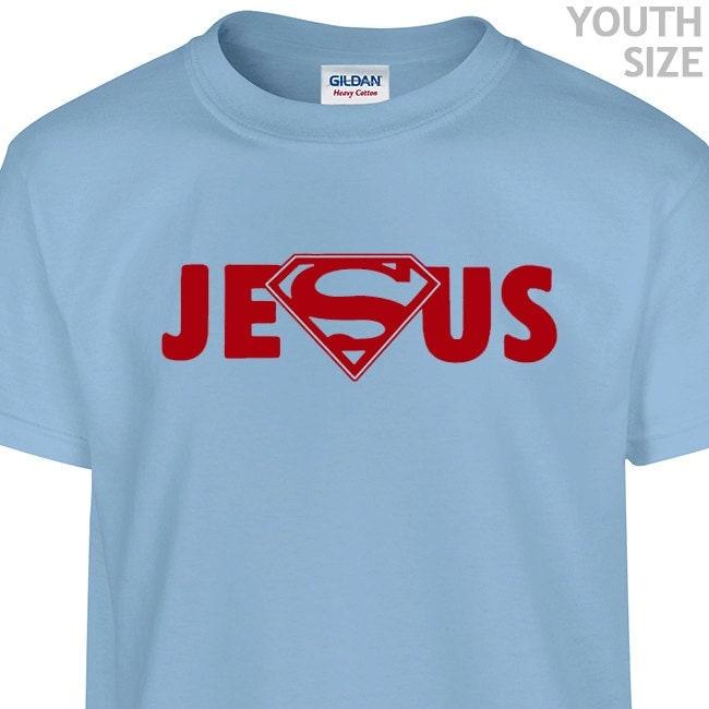 Youth Kids Jesus Superman Logo T Shirt Funny Kids Superman