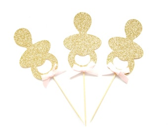 12 Gold Glitter Baby Pacifier Cupcake Toppers - Baby dummy cupcake toppers, Baby Girl cupcake toppers, Baby shower cupcake toppers