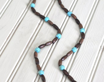 Turquoise and Brown Long Necklace- Turquoise necklace- Turquoise Jewelry-Long Boho Necklace- Boho Jewelry- Boho Necklace- Gift for Her