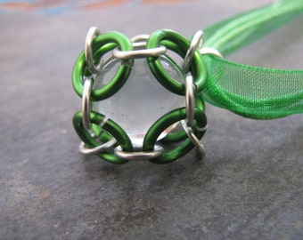 Caged Marble Necklace; Chainmaille; Green Jump Rings; Silver Jump Rings, Clear Marble