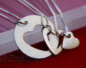 Three Generation Necklace Set - Mother and Daughter Jewelry - Grandmother Mother Daughter Sterling Silver Heart Cut Out - Heart Washer