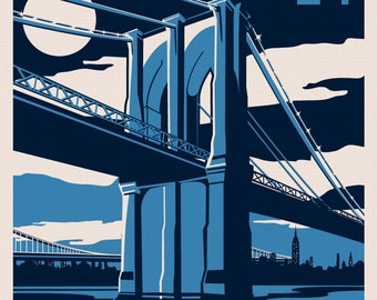 Brooklyn Bridge New York City skyline retro poster