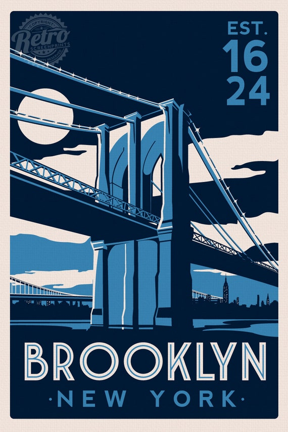brooklyn bridge new york city skyline retro by retroscreenprints. Black Bedroom Furniture Sets. Home Design Ideas