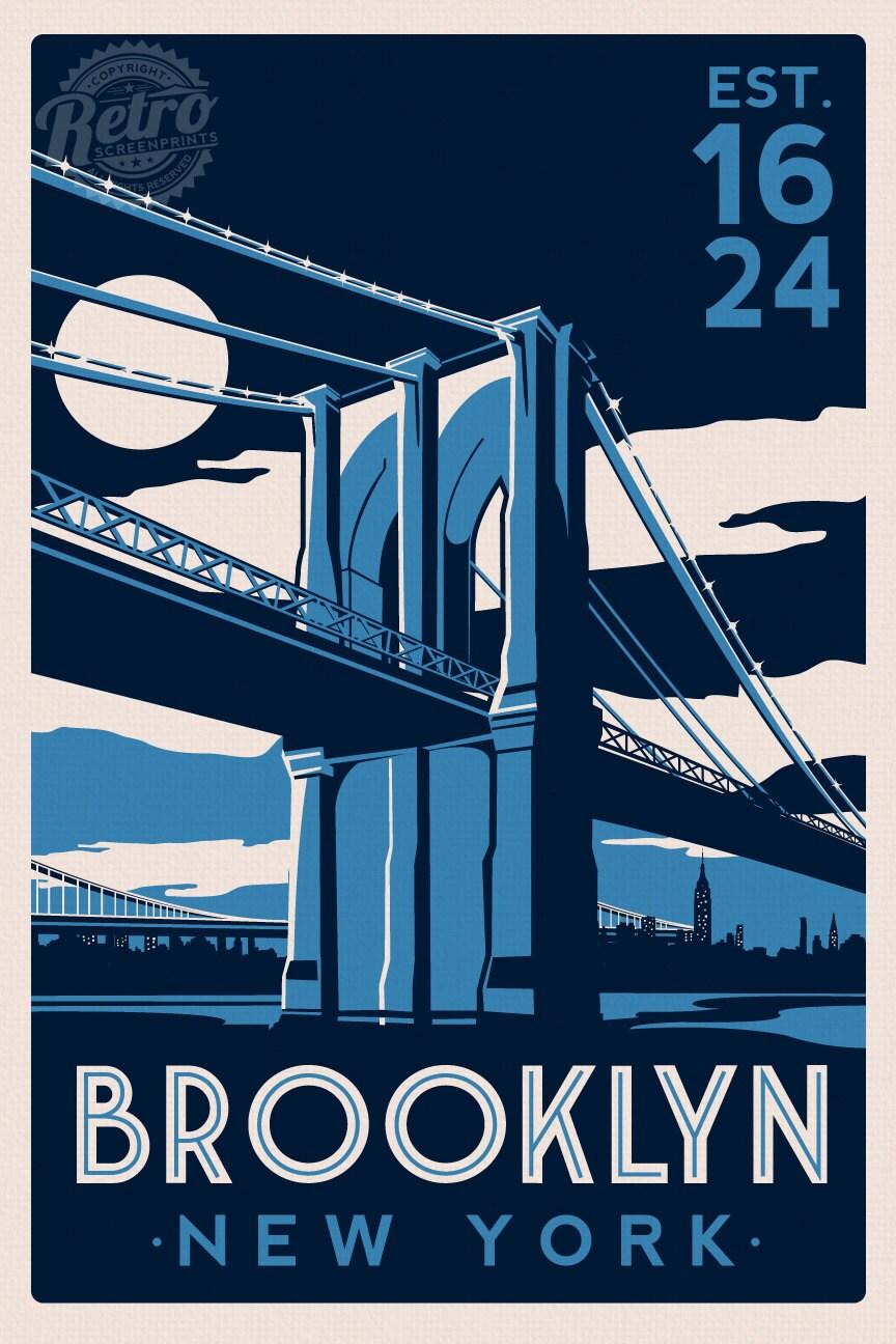 Brooklyn Bridge New York City Skyline Retro By