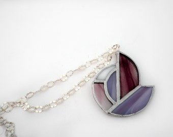 Purple necklace in artistic glass, lace and sterling silver 925