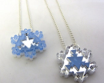 Frozen Inspired fractal snowflake necklace