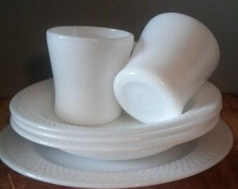 ON SALE! Vintage Federal Glass Plate, Mugs, Bowls Set, Milk Glass. Mid-Century 3-2-1!