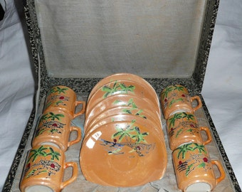 Vintage Brazilian Hand-painted Espresso Coffee Set in box ~ 1930's-50's