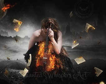 Gothic woman with violin on fire art print