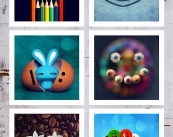 "Set of 6 Funny Fine art Photography Nursery Art Wall Decor ""You make me Smile"" Still Life Colorful Fine Print Lovely Modern photos 10% Sale"