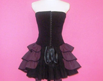 SALE Steampunk Skirt Bustle Plum Purple Cotton and Black Lace Made to Order