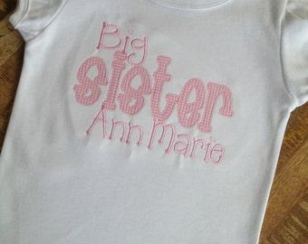 Big sister applique shirt