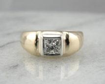 Men's Low Dome Retro Era Ring with Square Cut Diamond 72CEQ7-R