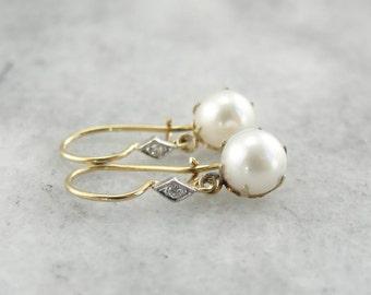 Vintage Gold, Diamond And Pearl Drop Earrings X3VPNN-P