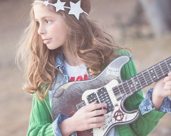 Glitter star headband = silver star headband - baby, toddler girls headband -