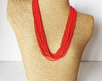 Red coral necklace,light red necklace,bridesmaid necklace,seedbead multistrand,beaded necklace,bridesmaid gift,wedding jewelry,beaded coral