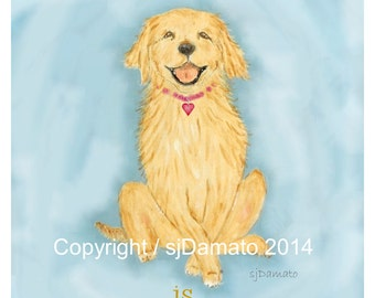 Golden Retriever Art Print - Love is Golden