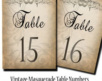 Instant Download Rustic Masquerade Printable Table Numbers 1-24 | Wedding Table Numbers | Masquerade | Party Decoration | Steam Punk |