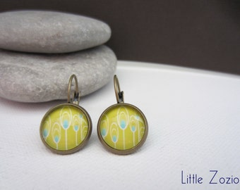 Earrings cabochons Yellow and Flowers