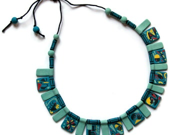 ceramic jewelry-One of a Kind Blue Terracotta necklace with abstract decorations-clay necklace-personalized women gift-personalized womens