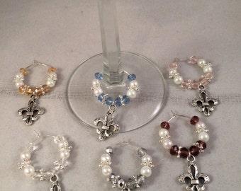 Set of 6 Handmade Fleur De Lis Wine Glass Charms