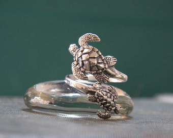 Sterling Silver Sea Life Open Ring - Adjustable - Sea Turtle Ring - friendship ring - statement ring - novelty ring