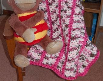 Handmade Pink & Pink Variegated Striped Baby Afghan