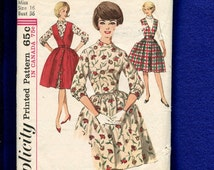 1960's Simplicity 5107 Fitted Bodice Bubble Dress & V Neck Front Button Jumper Size 16
