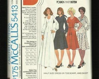1977 McCalls 5413 Pounds Thinner Princess Seam Dress Top & Skirt  Sizes 18.5..20.5..22.5 UNCUT