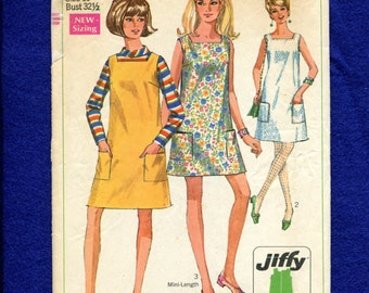 1960's Simplicity 7622 Beach Cover Shift or Jumper Jiffy Fashion with Square Neckline Size 10