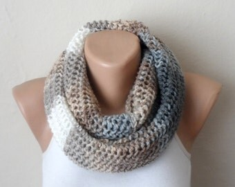 brown cream gray white knit infinity scarf  multicolor circle scarf winter scarf