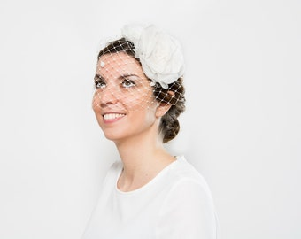 Isla - Bridal White Headpiece made with silk organza, White fascinator for brides