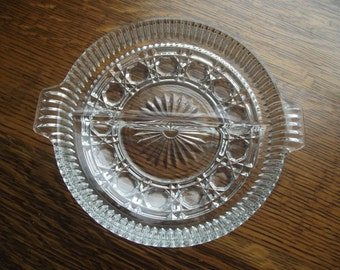 Cut GLASS Divided Dish,Glass SERVING Dish,Kitchen and Dining,Elegant Dining,RELISH DIsh