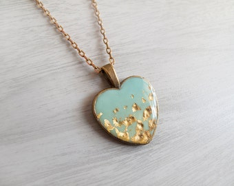 Mint and 23k Gold Necklace - Heart Necklace - Gift for Her