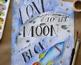 Children's Art/ Kids Art Print/ Watercolour/ Moon & Back-8x10