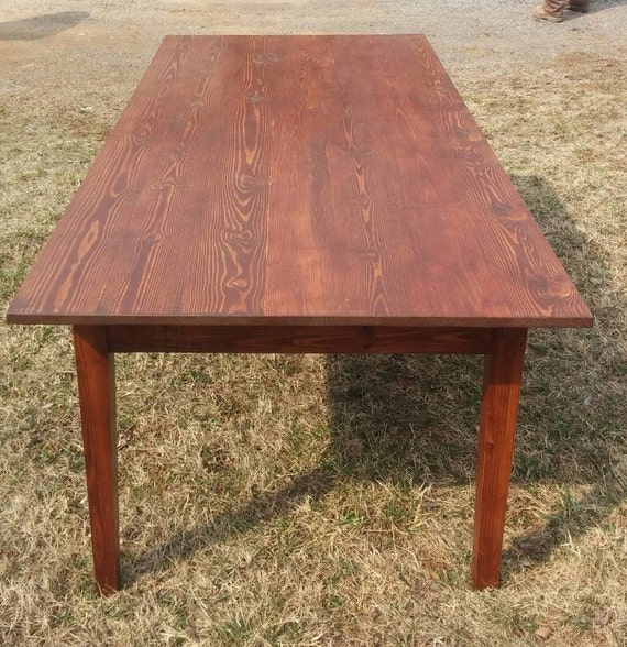 Items similar to extra long reclaimed yellow pine farm for Yellow farmhouse table