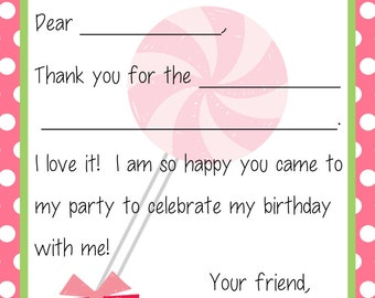 Kids Fill In the Blank Thank You Cards for Girls -  Birthday Party Gifts