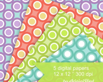 Easter eggs printable gift tags colorful candy gift wrapping digital papers dots and circles seamless pattern easter colors scrapbooking background images download negle Images