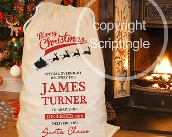 Personalised Merry Christmas santa sack / personalised Christmas sack CHRISTMAS IN JULY